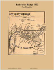Sanbornton Bridge Village, New Hampshire 1860 Old Town Map Custom Print - Belknap Co.
