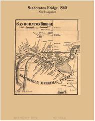Sanbornton Bridge Village, New Hampshire 1860 Old Town Map Custom Print - Belknap Co.