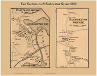 East Sanbornton and Sanbornton Square Villages, New Hampshire 1860 Old Town Map Custom Print - Belknap Co.