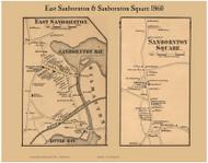 East Sanbornton and Sanbornton Square Villages, New Hampshire 1860 Old Town Map Custom Print - Belknap Co.