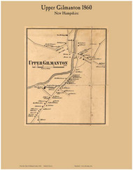 Upper Gilmanton Village, New Hampshire 1860 Old Town Map Custom Print - Belknap Co.