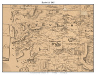 Sandwich, New Hampshire 1861 Old Town Map Custom Print - Carroll Co.