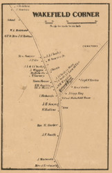 Wakefield Corner, New Hampshire 1861 Old Town Map Custom Print - Carroll Co.