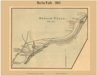 Berlin Falls Village, New Hampshire 1861 Old Town Map Custom Print - Coos Co.