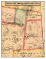 Dartmouth College, Atkinson & Gilmanton Academy Grants, New Hampshire 1861 Old Town Map Custom Print - Coos Co.