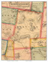 Dixville and Ervins Location, New Hampshire 1861 Old Town Map Custom Print - Coos Co.