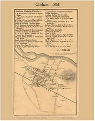 Gorham Village, New Hampshire 1861 Old Town Map Custom Print - Coos Co.