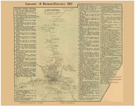 Lancaster Village & Business Directory, New Hampshire 1861 Old Town Map Custom Print - Coos Co.