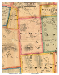 Millsfield, New Hampshire 1861 Old Town Map Custom Print - Coos Co.