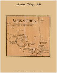 Alexandria Village, New Hampshire 1860 Old Town Map Custom Print - Grafton Co.