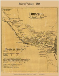 Bristol Village, New Hampshire 1860 Old Town Map Custom Print - Grafton Co.