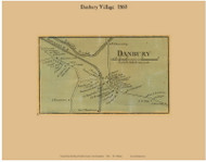 Danbury Village, New Hampshire 1860 Old Town Map Custom Print - Grafton Co.
