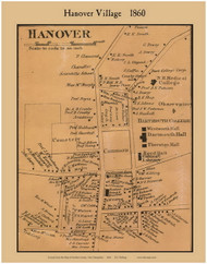 Hanover Village, New Hampshire 1860 Old Town Map Custom Print - Grafton Co.