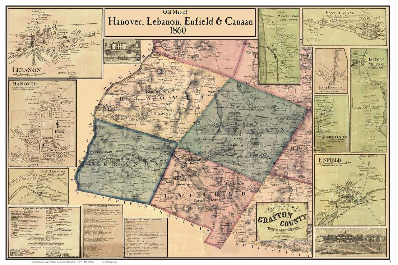 Hanover Lebanon Enfield Canaan Poster Map New Hampshire 1860