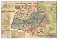 Hanover, Lebanon, Enfield, & Canaan Poster Map, New Hampshire 1860 Old Town Map Custom Print - Grafton Co.
