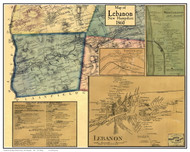 Lebanon Poster Map, New Hampshire 1860 Old Town Map Custom Print - Grafton Co.