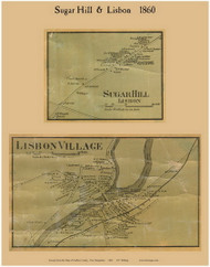 Sugar Hill and Lisbon Villages, New Hampshire 1860 Old Town Map Custom Print - Grafton Co.