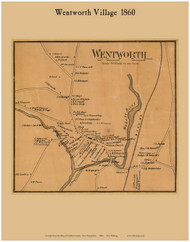 Wentworth Village, New Hampshire 1860 Old Town Map Custom Print - Grafton Co.