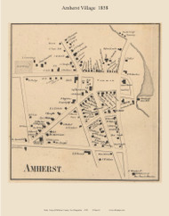 Amherst Village, New Hampshire 1858 Old Town Map Custom Print - Hillsboro Co.