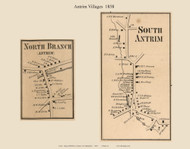 South Antrim and North Branch Villages, New Hampshire 1858 Old Town Map Custom Print - Hillsboro Co.