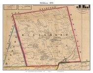 Hillsboro, New Hampshire 1858 Old Town Map Custom Print - Hillsboro Co.