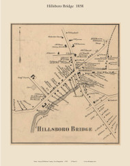 Hillsboro Bridge Village, New Hampshire 1858 Old Town Map Custom Print - Hillsboro Co.