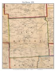 New Boston, New Hampshire 1858 Old Town Map Custom Print - Hillsboro Co.
