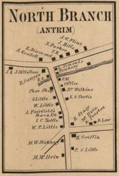 North Branch - Antrim, New Hampshire 1858 Old Town Map Custom Print - Hillsboro Co.