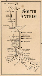 South Antrim, New Hampshire 1858 Old Town Map Custom Print - Hillsboro Co.