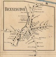 Bennington Village, New Hampshire 1858 Old Town Map Custom Print - Hillsboro Co.