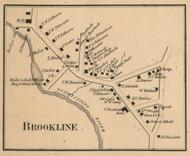 Brookline Village, New Hampshire 1858 Old Town Map Custom Print - Hillsboro Co.