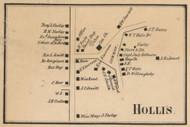 Hollis Village, New Hampshire 1858 Old Town Map Custom Print - Hillsboro Co.