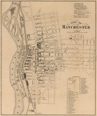 City of Manchester, New Hampshire 1858 Old Town Map Custom Print - Hillsboro Co.