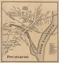 Piscataqoug - Manchester, New Hampshire 1858 Old Town Map Custom Print - Hillsboro Co.