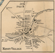 Mason Village, New Hampshire 1858 Old Town Map Custom Print - Hillsboro Co.