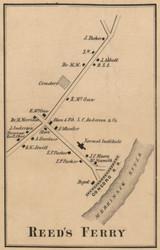 Reeds Ferry - Merrimack, New Hampshire 1858 Old Town Map Custom Print - Hillsboro Co.