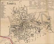 City of Nashua, New Hampshire 1858 Old Town Map Custom Print - Hillsboro Co.