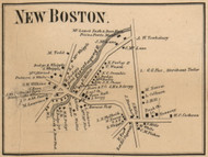 New Boston Village, New Hampshire 1858 Old Town Map Custom Print - Hillsboro Co.