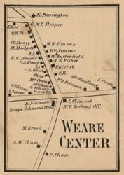 Weare Center Village, New Hampshire 1858 Old Town Map Custom Print - Hillsboro Co.