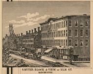 Smyth's Block & Elm St., New Hampshire 1858 Hillsboro Co.