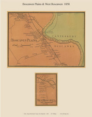 Boscawen Plains and West Boscawen Villages, New Hampshire 1858 Old Town Map Custom Print - Merrimack Co.