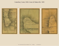 Shaker Village, Canterbury Center and Hills Corner Villages, New Hampshire 1858 Old Town Map Custom Print - Merrimack Co.