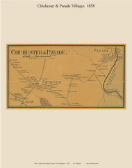 Chichester and Parade Villages, New Hampshire 1858 Old Town Map Custom Print - Merrimack Co.