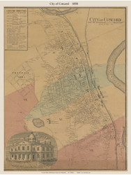 Concord City, New Hampshire 1858 Old Town Map Custom Print - Merrimack Co.