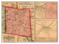 Hopkinton Poster, New Hampshire 1858 Old Town Map Custom Print - Merrimack Co.