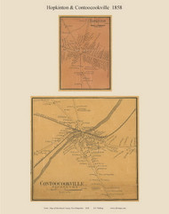 Contoocookville and Hopkinton Villages, New Hampshire 1858 Old Town Map Custom Print - Merrimack Co.