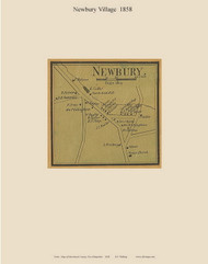 Newbury Village, New Hampshire 1858 Old Town Map Custom Print - Merrimack Co.