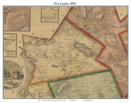 New London, New Hampshire 1858 Old Town Map Custom Print - Merrimack Co.