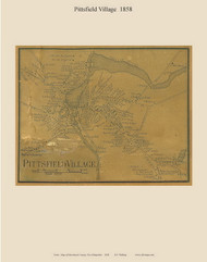 Pittsfield Village, New Hampshire 1858 Old Town Map Custom Print - Merrimack Co.
