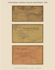 Salisbury Center, North Salisbury, and South Salisbury Villages, New Hampshire 1858 Old Town Map Custom Print - Merrimack Co.